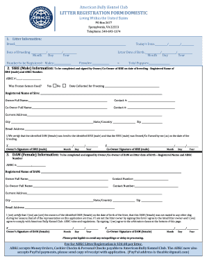 Fillable Online theabkcdogs Litter Registration Form Domestic ...