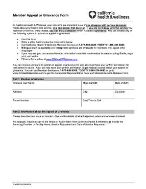 cahealthwellness Paper form for Filing an Appeal or Grievance - CA Health Wellness ...