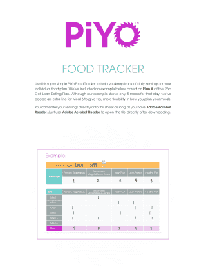 PiYo Food Tracker - Beachbody