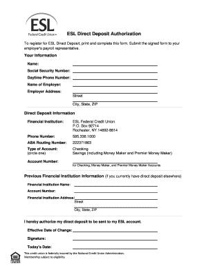 direct deposit form blank  Esl Direct Deposit Form - Fill Online, Printable, Fillable ...