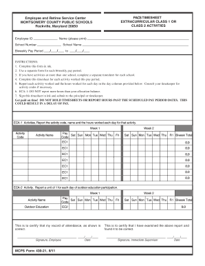 MCPS Form 430-21 703 PACS Timesheet Extracurricular Class 1 or Class 2 Activities - mcps k12 md