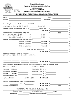 Worksheets Residential Load Calculation Worksheet fillable online residential electrical load calculation worksheet fill online