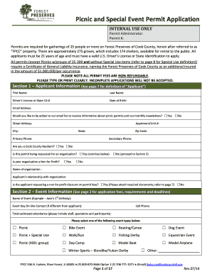 Picnic and Special Event Permit Application