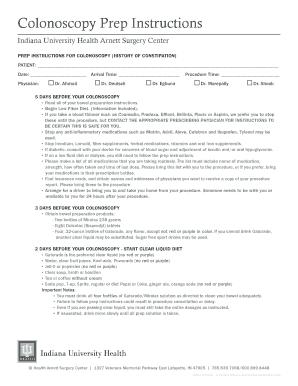 Fillable Online iuhealth Colonoscopy Prep Instructions