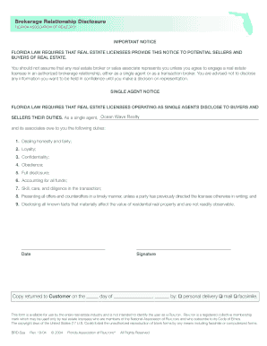 Fillable Online Brokerage Relationship Disclosure FLORIDA ...