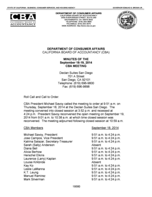 CBA Meeting Minutes for 0918-19 2014 - California Board of Accountancy CBA Meeting Minutes for 0918-19 2014 - California Board of Accountancy - dca ca