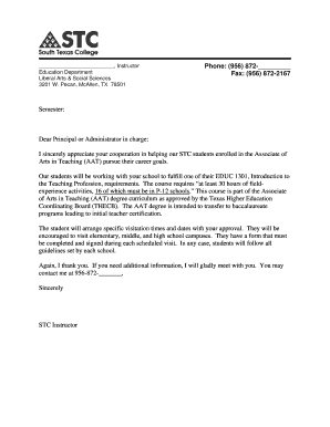 Cover Letter For College from www.pdffiller.com