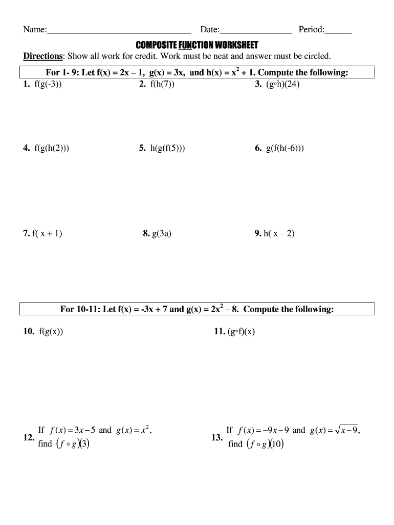 Composite Function Worksheet - Fill and Sign Printable Template Regarding Composite Function Worksheet Answers