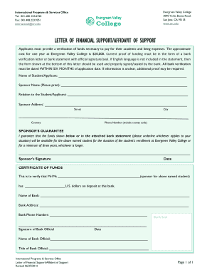 Letter of Financial support /Affidavit of Support Form from parents or ... - evc