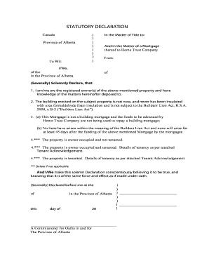 Statutory Declaration Alberta Fill Online Printable Fillable