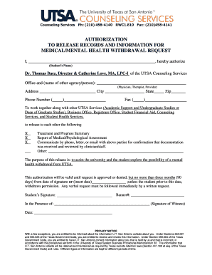 Fillable Online Authorization to Release Information Form for ...
