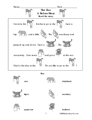 picture about Funny Fill in the Blank Stories Printable referred to as The Zoo Rebus Tale - Fill On the web, Printable, Fillable