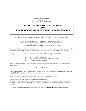 Applicator Reciprocal Exam - State of New Jersey - pcpnj