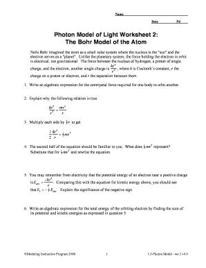 Fillable Online Photon Model of Light Worksheet 2 The Bohr Model of ...