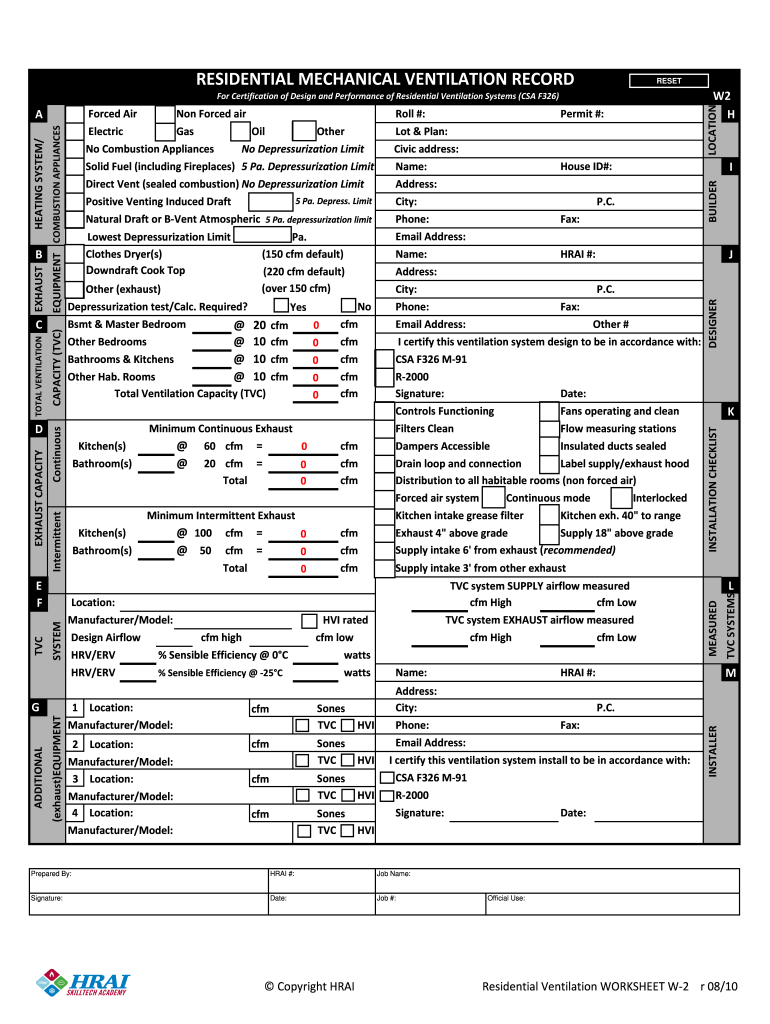 Fillable Online Residential Mechanical Ventilation Record