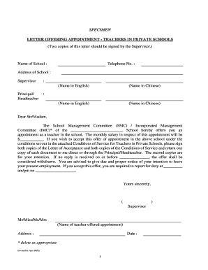 Fillable appointment letter for private school teacher edit online specimen letter offering appointment teachers in bb thecheapjerseys Image collections