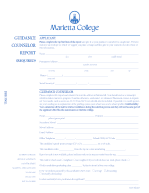 Guidance counselor report required - Marietta College - marietta