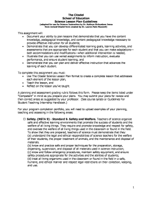 Lesson plan sample in science forms and templates fillable the citadel school of education science lesson plan livetext maxwellsz