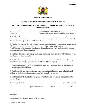 letter of renunciation of citizenship for kenya fill online printable fillable blank pdffiller