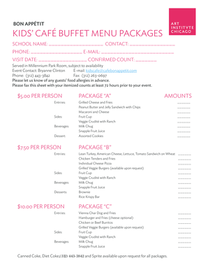 KIDS CAF BUFFET MENU PACKAGES - Art Institute of Chicago - artic