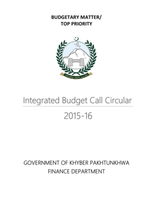 Integrated Budget Call Circular - Government of Khyber bb - financekpp gov