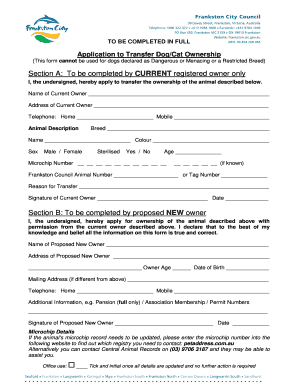 Transfer Of Dog Ownership Form Fill Print Download Online