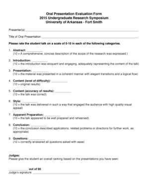 Oral presentation evaluation form templates fillable printable oral presentation evaluation form 2015 undergraduate research uafs thecheapjerseys Images