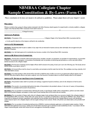 Fillable Online Nbmbaa Collegiate Chapter Sample Constitution - Constitution and bylaws template