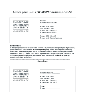Fillable online business gwu mspm business card order form george rate this form wajeb Image collections