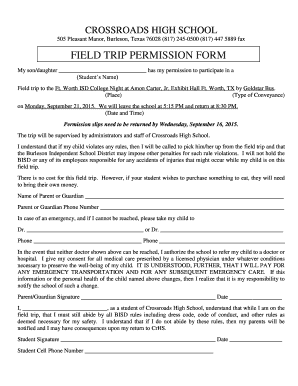 CrHS Permission Slip Form FWISD College Night - Crossroads