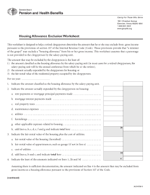 Worksheets Clergy Housing Allowance Worksheet clergy housing allowance worksheet bloggakuten fillable online for retired fax