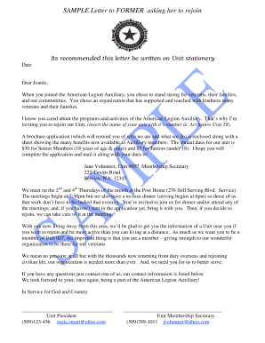 Sample letter to Former Members - The American Legion Auxiliary