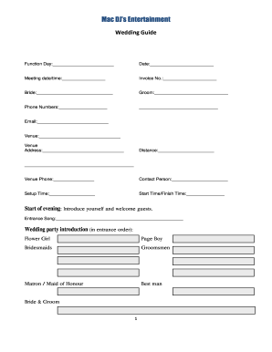 Wedding Reception Order Of Events.Printable Wedding Reception Order Of Events Fill Out Download