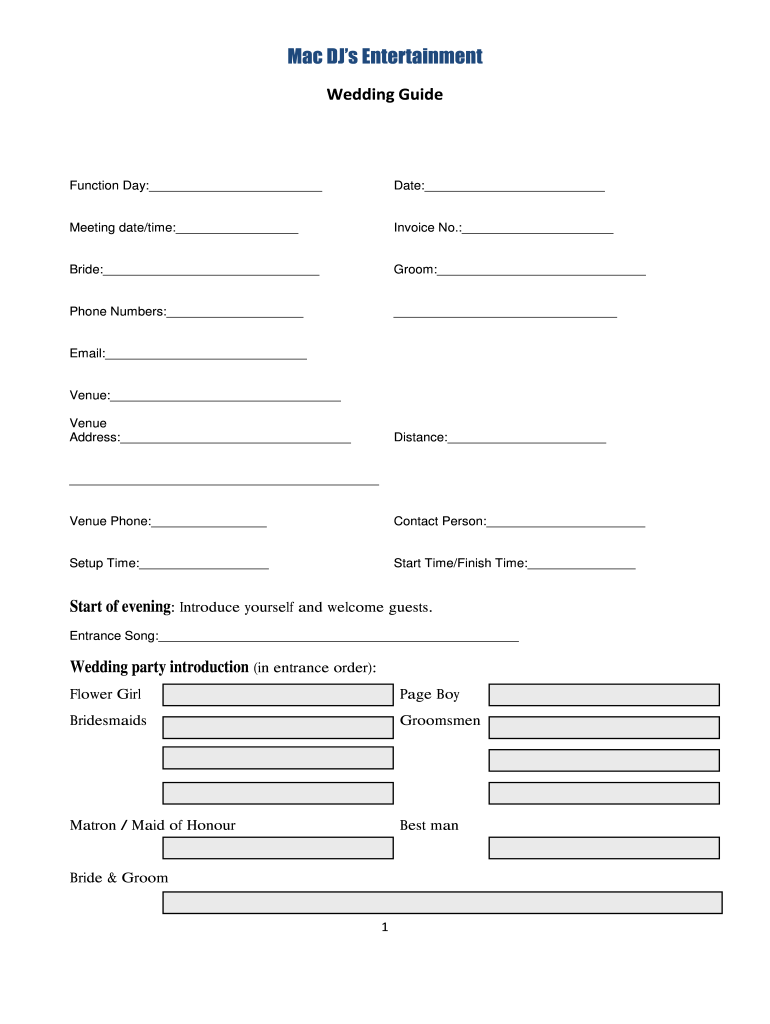Wedding Mc Running Sheet Fill Online Printable Fillable