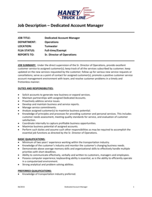 Job Description Dedicated Account Manager