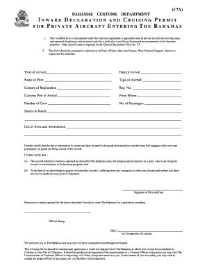 Fillable Online Customs BAHAMAS FORM C7A Fax Email Print - PDFfiller