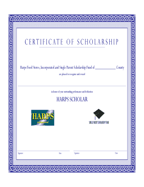 Harps Scholarship Certificate - Arkansas Single Parent Scholarship - aspsf