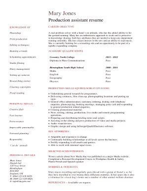 Printable Production Assistant Resume Template Fill Out