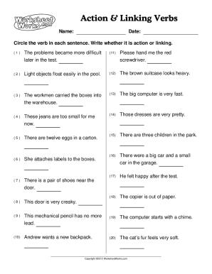 Fillable Online Advanced Linking Verb Worksheet Grammar
