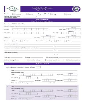 Fillable Online Application Form - Labbaik Travel Aasaan