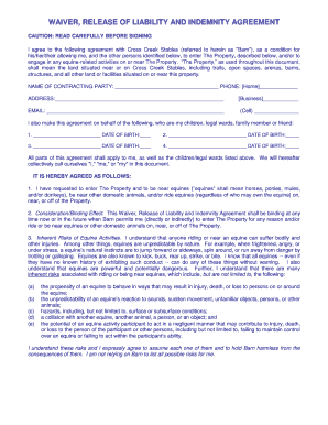 Waiver, Release Of Liability And Indemnity Agreement   Helgeu0026#39;s Horse .  Indemnity Agreement Template