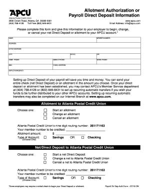Fillable Online Payroll Direct Deposit Form Atlanta Postal Credit