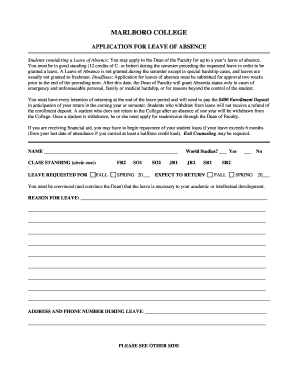 APPLICATION FOR LEAVE OF ABSENCE - Nook - Marlboro College - nook marlboro