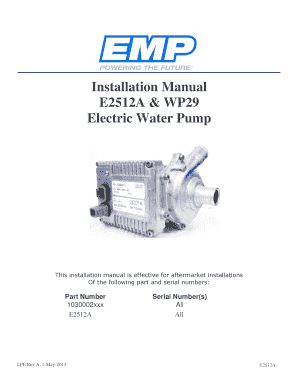 Installation Manual E2512A & WP29 Electric Water ... - Lingenfelter - deda076 mivamerchant