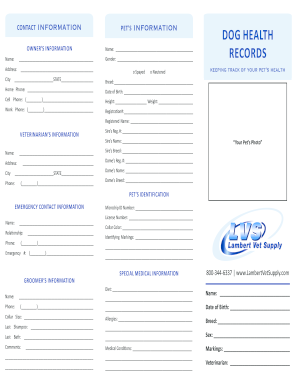 Printable dog health record edit fill out download for Pet health record template