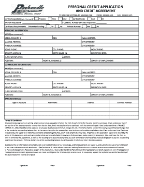 fillable online personal credit application form fax email print