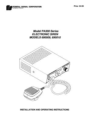 federal pa300 siren wiring diagram fillable online model pa300 series electronic siren federal  model pa300 series electronic siren