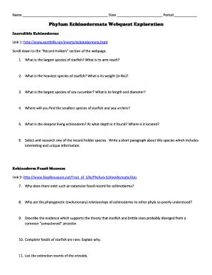 phylum echinodermata webquest exploration answers fill online rh pdffiller com Shark WebQuest Answer Key WebQuest Answer Key History Museum
