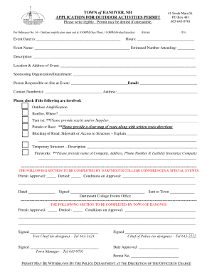 Outdoor Activities Permit fillable PDF - Town of Hanover - hanovernh