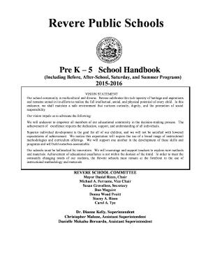 www revereps mec edu Fillable Online revereps mec Elementary School Handbook 2015-16 ...